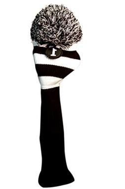 MAJEK #1 460cc Driver Black & White Golf Headcover Knit Pom