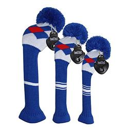 Scott Edward Blue/red/white Argyles Golf Pom Pom Head Covers