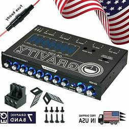 Gravity EQ9 1/2 Din 7 Band Car Audio Equalizer EQ w/ Front,