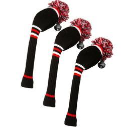 Stripe Golf Knitted Club Head Covers, Set of 3 - Driver, Fai