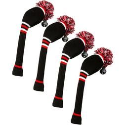 Stripe Golf Knitted Club Head Covers, Set of 4 - Driver, Fai