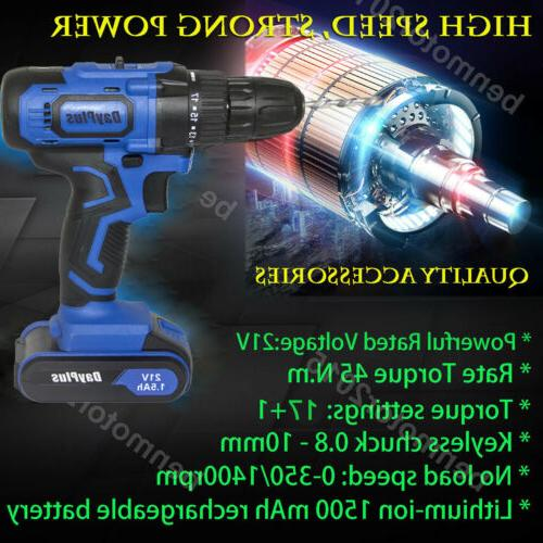 21-Volt Electric Cordless Driver with Bits Set &