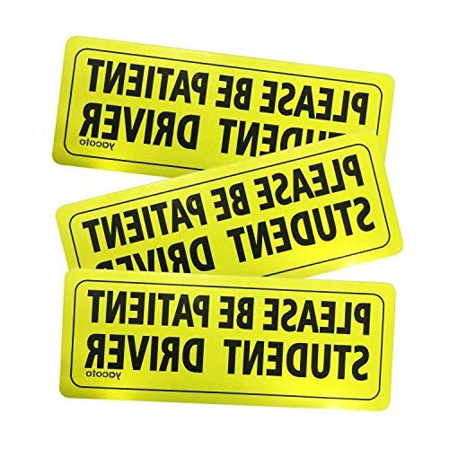 Set of 3 Please Be Patient Student Driver Safety Sign Vehicl