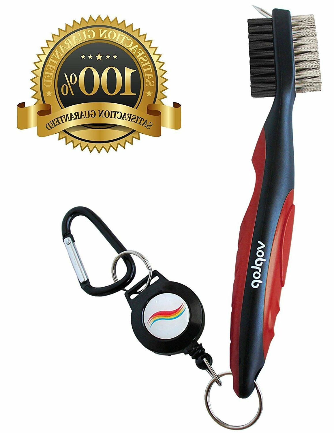 Voplop Golf Brush and Club Groove Cleaner - Easily Attaches