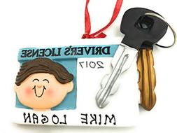 Personalized New Driver License Male Brown Christmas Ornamen
