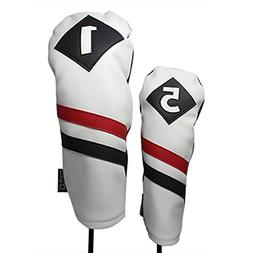 Majek Retro Golf Headcovers White Red Black Vintage Leather