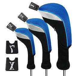 Andux 3pcs/Set Golf 460cc Driver Wood Head Covers Long Neck
