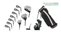 "TALL +2.0"" MENS LEFT HAND COMPLETE GOLF CLUB SET wBAG+DRIVER"