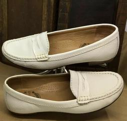 Women's 6 Penny Loafer By Driver Club USA White Pebbled Le